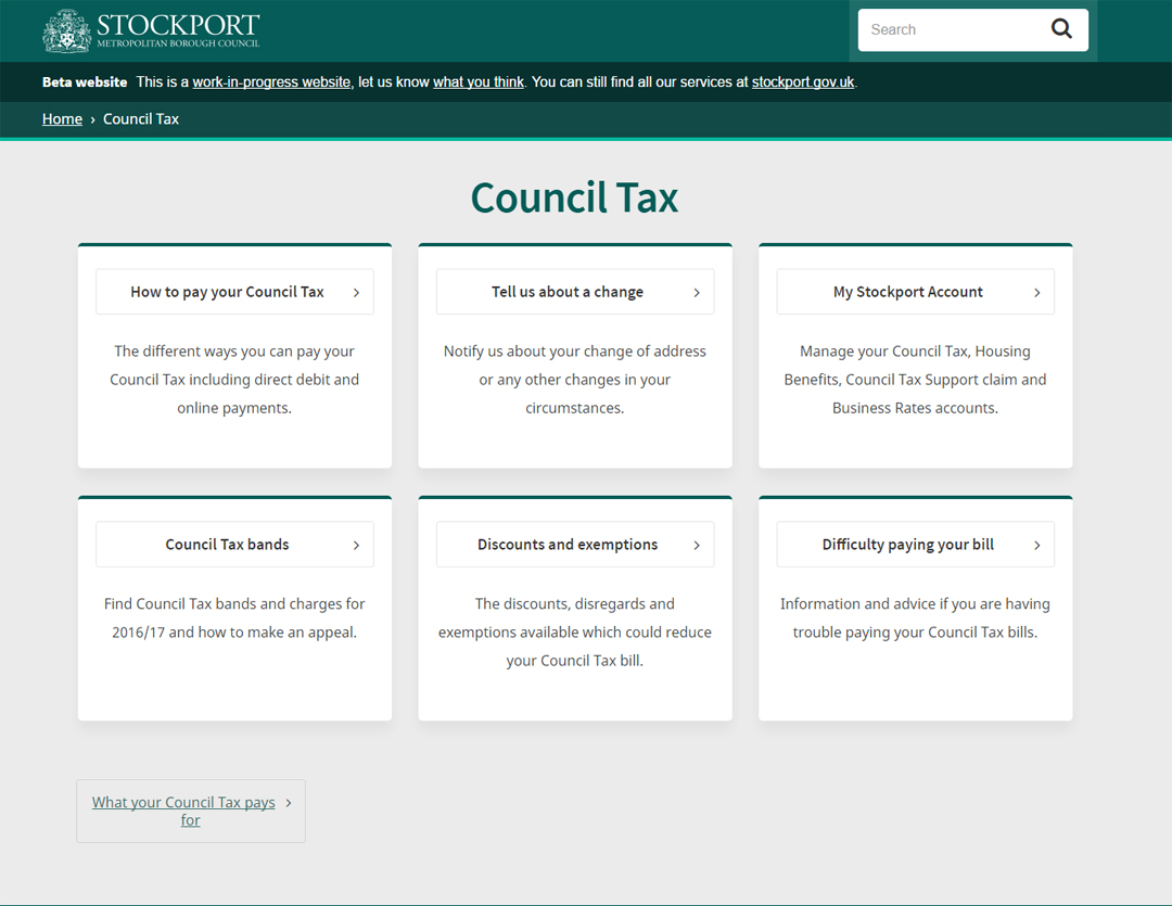 New council tax page
