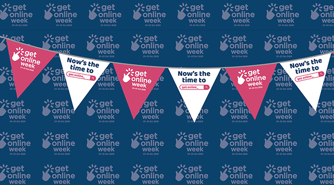 Colourful bunting diplaying the words Get Online Week